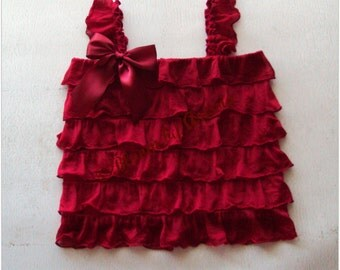 Garnet red ruffle tank top,  3 months to 5 yrs sizes available