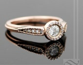 Diamond Halo Ring in 14k rose gold