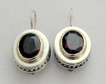 Sterling silver earrings, Garnet earrings, casual earrings, gemstone earrings, red stone earrings, two tone earrings - Regal Red E0296X