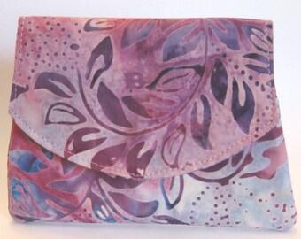 Splashy Purple Leaves on Lavender Small Batik Wallet
