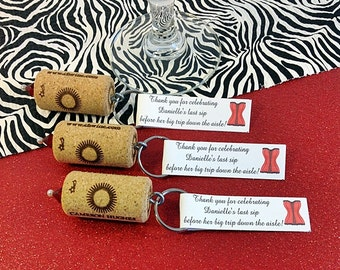 Wine Cork Keychain Favors- Great Wedding or Bridal Shower Favors- 50
