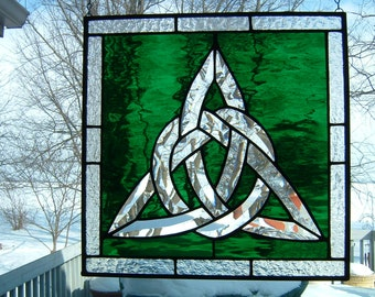 Stained Glass Irish Beveled Trinity Knot Celtic Cluster Panel