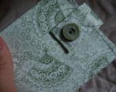 Women's wallet - Japanese fan in sage green - coin pocket FREE SHIPPING