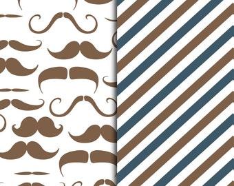Mustache and Stripe Pattern Sheets