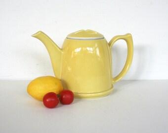 Canary yellow Lipton teapot by Hall China. Art Deco, sturdy, pre WW2.