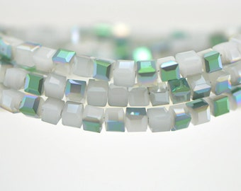 Cube Crystal Glass Faceted beads 4mm White Green -FZ0411 / 95pcs