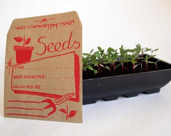 Seed Saver Envelopes - Seed Envelopes - Screen Printed By Hand