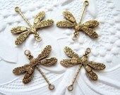 4 -Antiqued brass 2 ring dragonfly connectors - CT184