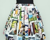 Pinup Comic Strip  Skirt  Vintage Inspired Skirt LT White