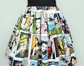 Pinup Comic Strip  Skirt  Vintage Inspired Skirt LT White