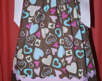 """Girls Colorful Hearts on Brown Pillowcase Dress in size 2T to 3T.  """"Ready to Ship""""."""