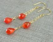 Orange Quartz Earrings 14k Gold Filled Bright Orange Gemstone Earrings Long Chain Earrings