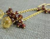 Citrine Garnet Earrings, Citrine Gold Filled Earrings, Long Gemstone Earrings, Red Garnet Dangle Earrings