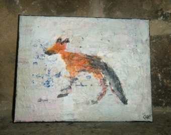 "Abstract Fox Painting on 8 x 10 Inch Canvas Entitled ""Ghost Fox"""