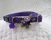 Purple Cat Collar with bell   Wedding Cat  Breakaway Collar Custom Made