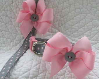 Polka Dot  Collar and Leash  Gift Set  Dog Collar and Leash Set