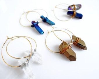 Crystal Quartz Earrings, Gold Hoop Earrings,  Silver Hoop Earrings