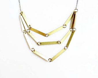 Simple Layered Neckalce, Geometric Necklace,  Raw Brass Necklace, Everyday Minimalist Jewelry