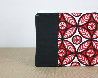 SALE  Zipper Pouch, Cosmetic Case, Fabric Wallet, Pencil Case in Black and Red by Nstarstudio