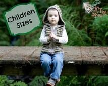 Crochet pattern, crochet childrens vest, boys vest, girls vest, hooded vest for children, crochet, easy pattern, zipper or button