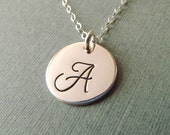 Sterling Silver Initial Disc Necklace, Hand Stamped Initial, Initial Disc Necklace, Silver Charm, Stamped Initial, Personalized Necklace