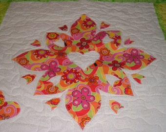 Flower Power Floral  Fabric Embroidery Quilted Wall Hanging Table Topper Baby Quilt Art by WonderlandShoppe