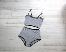Grey jersey High waist underwear set , retro Retro Bra & Panties lingerie set - MADE TO ORDER