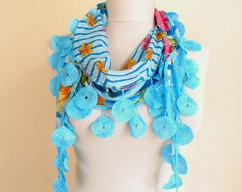 Blue Scarf -  birthday gifts -  women's accessory -  fashion scarf boho scarfs - Long Scarf - cotton scarf