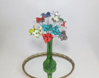 Brightly Colored Funky Circus Bouquet of Forever Blooming Metal Flowers Re Purposed Art