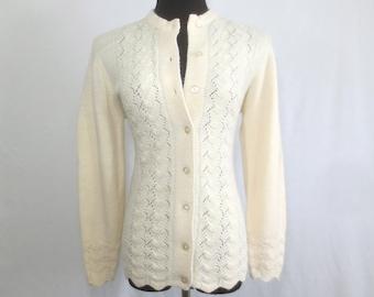 SEXY Vintage 1950's-1960's Ivory Cardigan Peek-a Boo Sweater - Flirty Rockabilly Retro Top