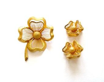 Monet  Pin Earrings 4 Leaf Clover  Shamrock 1961 Spinneret Series Book Piece