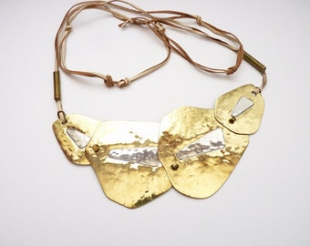 Vintage Boho Artisan Brass and Sterling Silver Statement Necklace or Belt with Raw Hide Strings 1960s Hippy Era