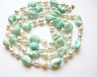 Natural Pearl Necklace Turquoise Shell Beads 48 Inch Rope c. 1980s