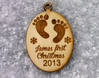 BABYS FIRST CHRISTMAS Personalized Ornament Wooden Engraved Christmas Tree Ornament Gifts Under 10 Dollars Custom Name Ornament