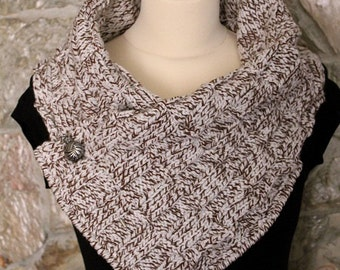 Knitted scarf in merged brown. Neckwarmer. Handmade by T. Catana. Ready to Ship!