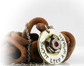 Personalized or Quote, Hand Stamped Bullet Necklace, 9mm Casing Rosette, Can Be Personalized