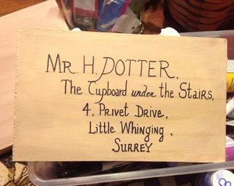 Wood Plaque Harry Potter Letter