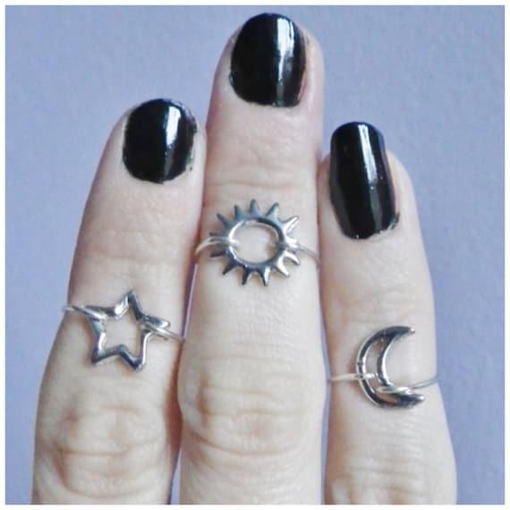 Midi knuckle rings, sun, moon and star set of three