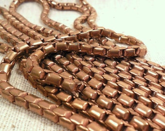 Raw Unplated Red Brass Dapped Box Chain (2 foot increments)