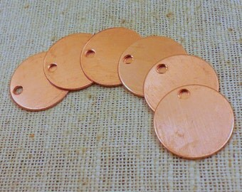 Raw Copper Round Blank Pendant/Tag 17mm (10) Die-stamping, Enameling