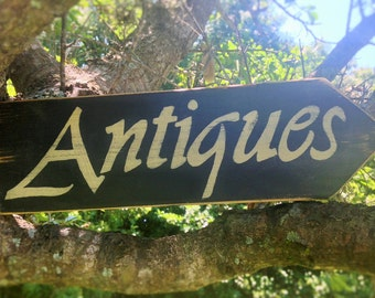 ANTIQUES (Choose Color) Rustic Shabby Chic Sign