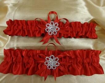 Red Satin Wedding Garter Set with Rhinestone Charms