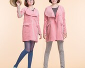 Pink cotton velveteen long coat / lady jacket