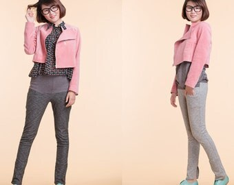 Short pink velveteen jacket