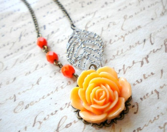Flower Necklace Peach Necklace Rose Necklace Leaf Necklace Summer Wedding Jewelry Peach Bridesmaid Necklace Summer Bridesmaid Jewelry