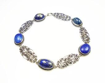 Victorian Bracelet Blue Lapis Sterling Silver Cannetille Antique Jewelry