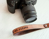 Leather Camera Wrist Strap -  Latitude and Longitude GPS Coordinates - Swivel clip - hand tooled leather - Photographer gift - Made to Order
