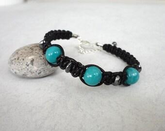 Black leather bracelet turquoise glass beads knotted macrame cuff black cord bracelet