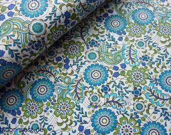 "by Hilco ""Hilde"" Flowers Cotton Poplin Children Quilting Fabric  50cm"
