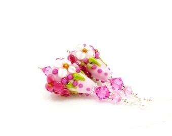 Pink Floral Earrings, Lampwork Earrings, Glass Earrings, Glass Bead Earrings, Beadwork Earrings, Lampwork Jewelry, Flower Earrings